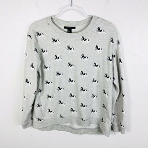 Forever 21 Size Large Gray French Bulldogs Sweater